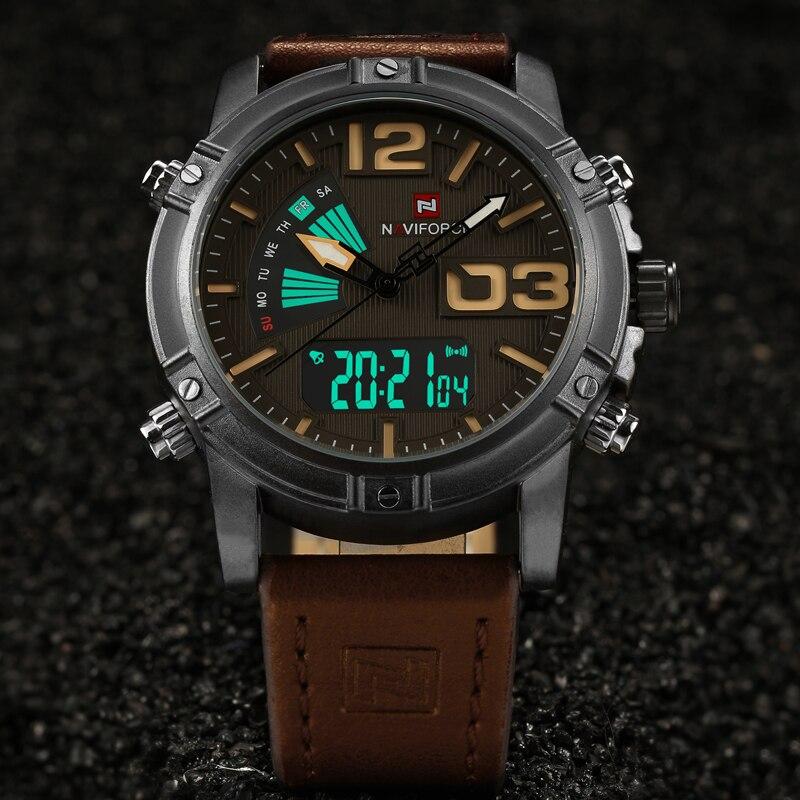 NAVIFORCE Brand Luxury տղամարդկանց ժամացույցներ Երկակի ցուցադրման ժամացույց Տղամարդիկ Ռազմական սպորտային քառյակ Վերադառնալ Թեթև Կաշի Relogio Masculino