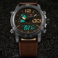 NAVIFORCE Brand Luxury Men's Watch Dual Display Watches Men Military Sports Quartz Watch Back Light Leather Relogio Masculino