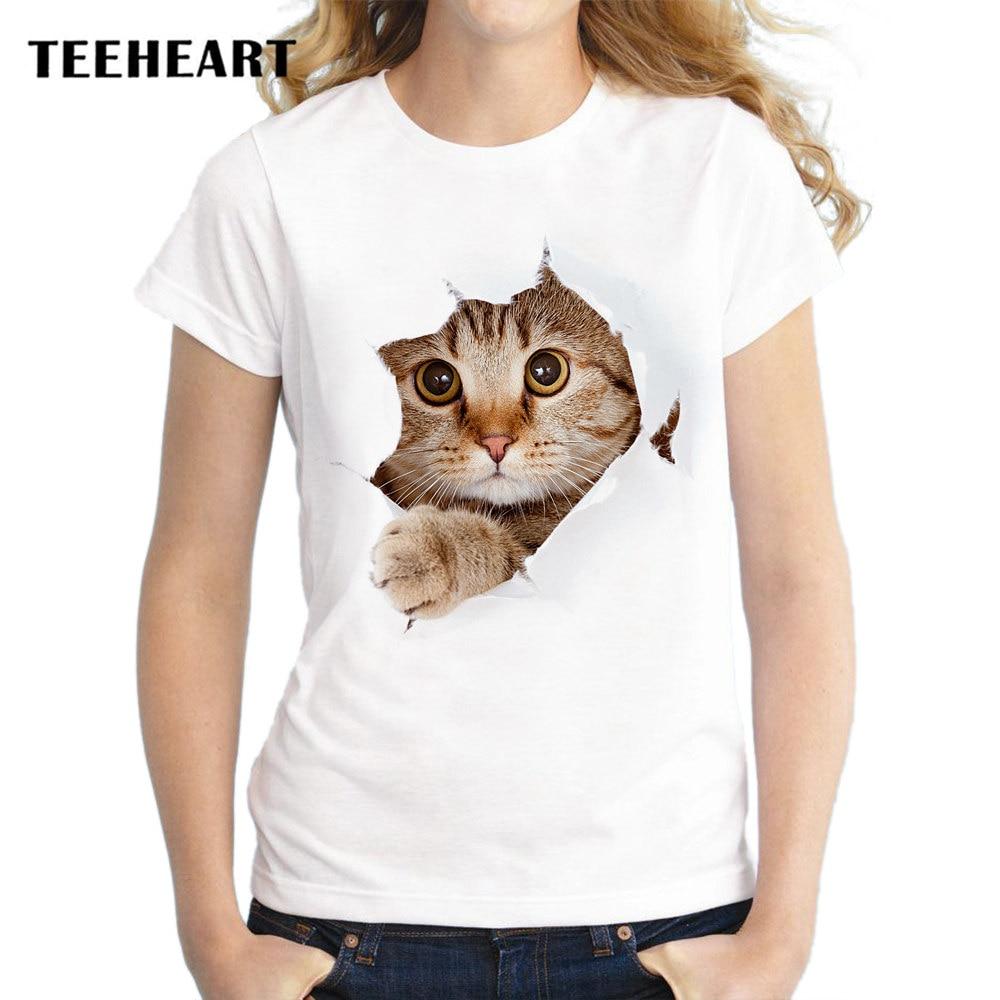 summer unique 3d cute cat design t shirt women's short sleeve lovely