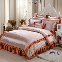 Home Textiles Morden Satin Silk Bedding Sets King Queen Size Bed Set 4Pcs Of Duvet Cover