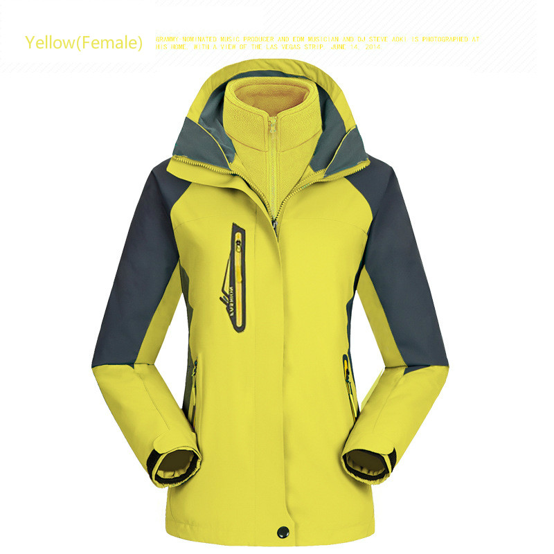 Outdoor waterproof breathable mountaineering jackets men and women thickened two piece three in one ski suit