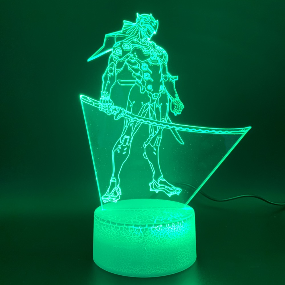 Novelty Lights Game Overwatch Shimada Genji Figure Home Decor Bright Base Child Gift 3d Led Night Light Lamp For Kids Bedroom