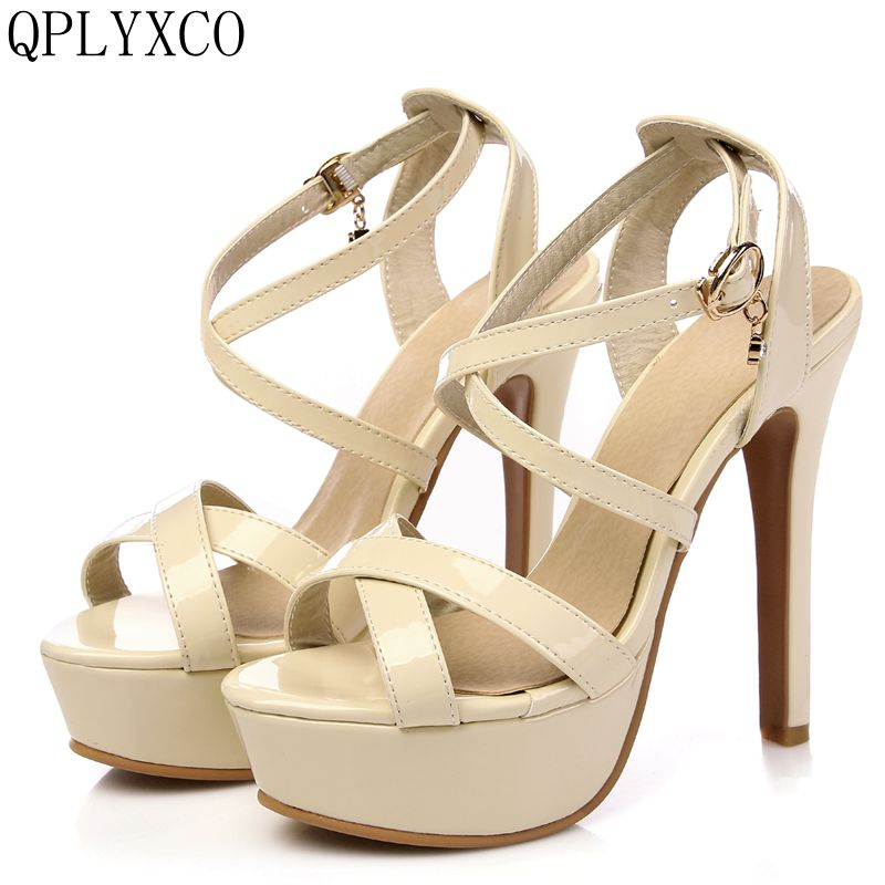 QPLYXCO 2017 Summer Genuine leather Style Sandals fashion  Big Size 30-48 Lady Super High Heel(13CM) wedding Party shoes 431-3 цены онлайн