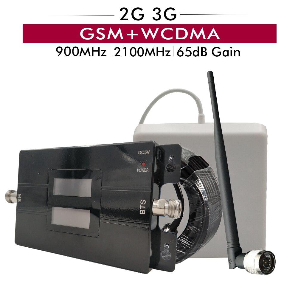 65dB Gain Dual Band Signal Booster 2G 3G GSM 900 UMTS/WCDMA 2100 MHz téléphone portable répéteur de Signal 900 2100 Mobile amplificateur de signal