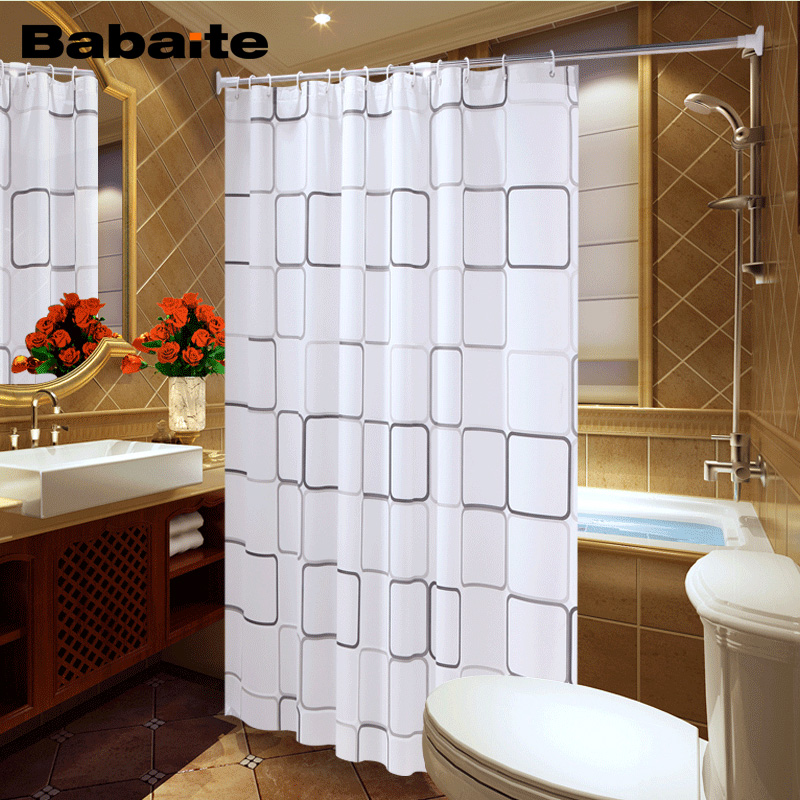 Babaite Waterproof Shower Curtain With Hook Plaid Bathroom Curtains High Quality Bath Bathing Sheer For Home Decoration