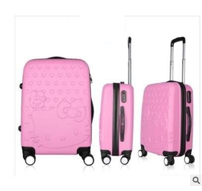 "ABS + PC de la Marca de Las Mujeres 20 ""pulgadas maleta Trolley de Viaje bolsas De Viaje trolley Maleta con ruedas Con Ruedas Hello Kitty Equipaje Maleta"