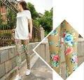 Новое Прибытие Женская Мода Осень Леггинсы Цветочные Печатные Тощие брюки Карандаш Брюки Свободный Размер + Бесплатная Доставка