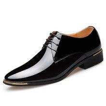 פטנט עור גברים שמלת נעלי 2019 חדש מותג גברים של עסקים נעלי איטלקי סגנון אופנה גברים נעלי חתונה זכר הנעלה 38 47