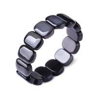 Gift Natural Ice Obsidian Crystal Stone Elastic Rectangle Beads Bracelet Fashion Mens Gems Jewelry Stone Bracelet 19.2X7mm