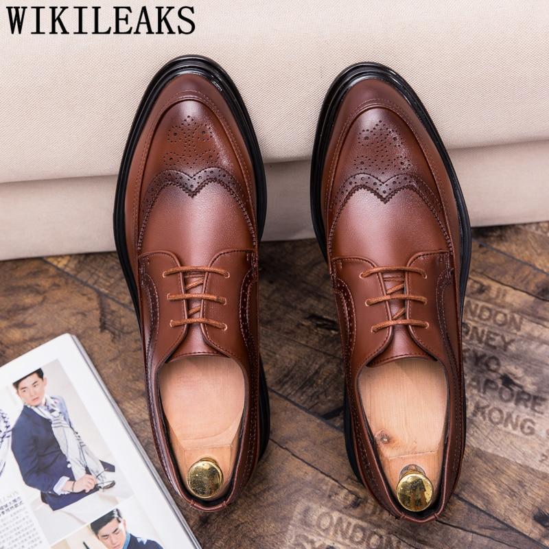 Brogue Shoes Men Formal Italian Brand Business Shoes Men Oxford Leather Coiffeur Brown Dress Elegant Shoes For Men Erkek Ayakkab