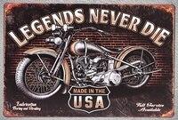 1 шт. Legends never Die мотоцикл мотоциклист механик жестяной знак настенный человек пещера Украшение Искусство Плакат Металл Винтаж