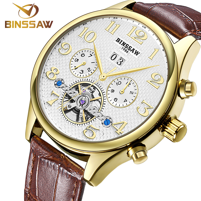 Binssaw Mens Watches Top Brand Luxury Mechanical Automatic Watch Men Tourbillon Clock Leather Strap Casual Business Wristwatch binssaw 2016 men s watch automatic mechanical watch tourbillon clock leather casual business wristwatch relojes hombre top brand