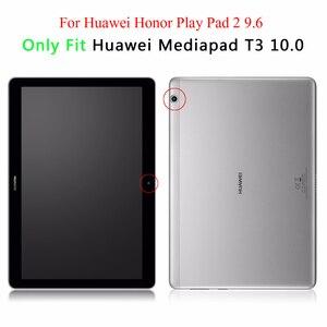 Image 2 - جراب لوحي Huawei MediaPad T3 10 9.6 لهاتف Huawei T 3 10 9.6 AGS W09 AGS L09 جراب حامل من الجلد قلّاب مطبوع + قلم