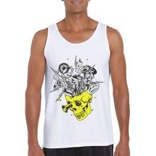 Hot Sale Men Printed Tank Tops Sleeveless Bodybuilding Vest Singlet Fitness Shirt Skull Print Gym Clothing Camiseta Sin Mangas