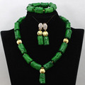 Gorgeous Green African Coral Beads Jewelry Set  Gold Plated White Coral Women Bridal Necklace Set Indian Free Shipping QW692