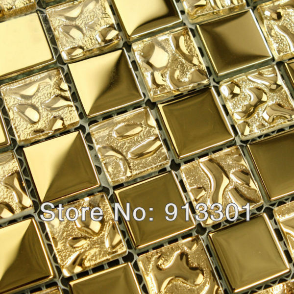 Crystal glass tile sheets square iridescent mosaic gold pattern ...
