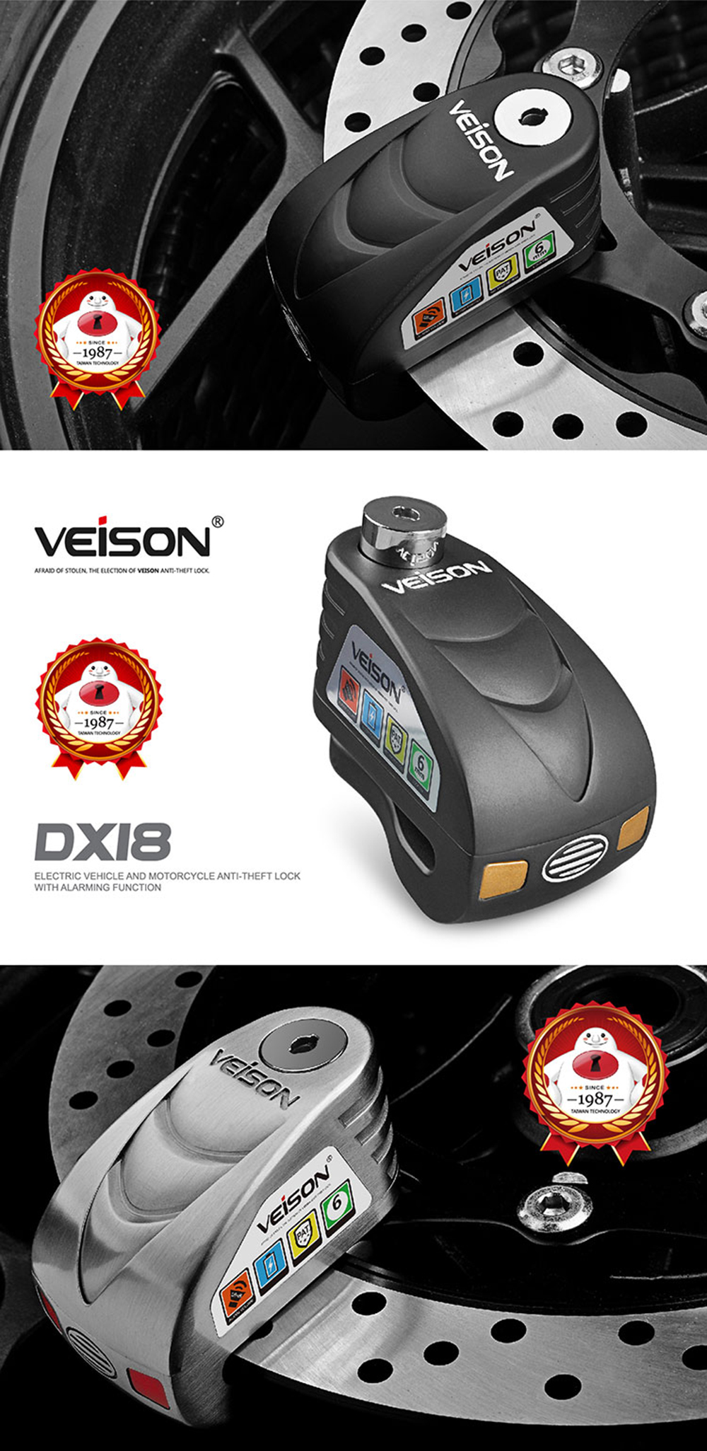 VEISON 120dB Waterproof Anti-Theft Alarm Brake Disc Electric Padlock Bike for Scooters