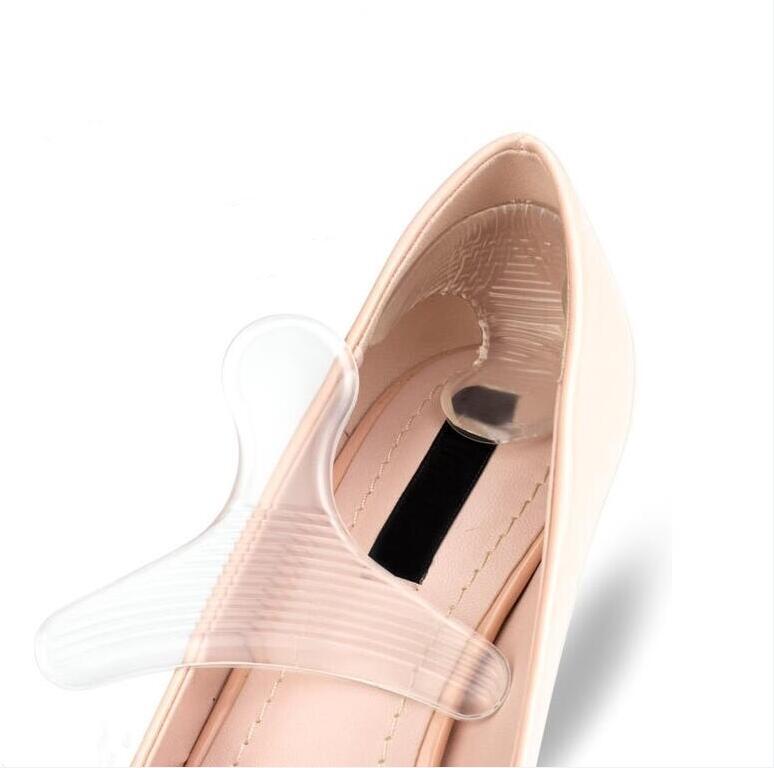 1 Paar Frauen Silikon T-form Zurück Ferse Einlegesohle Transparent Anti-reibung Gel Kissen Pads Für High Heel Schuhe GläNzend