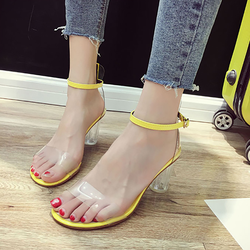 High Heels Yellow Sandals Women Summer Shoes Crystal Ankle Strap Plastic Women Transparent Shoes Clear Heels Ladies Shoes ladylike women s sandals with transparent plastic and crystal design
