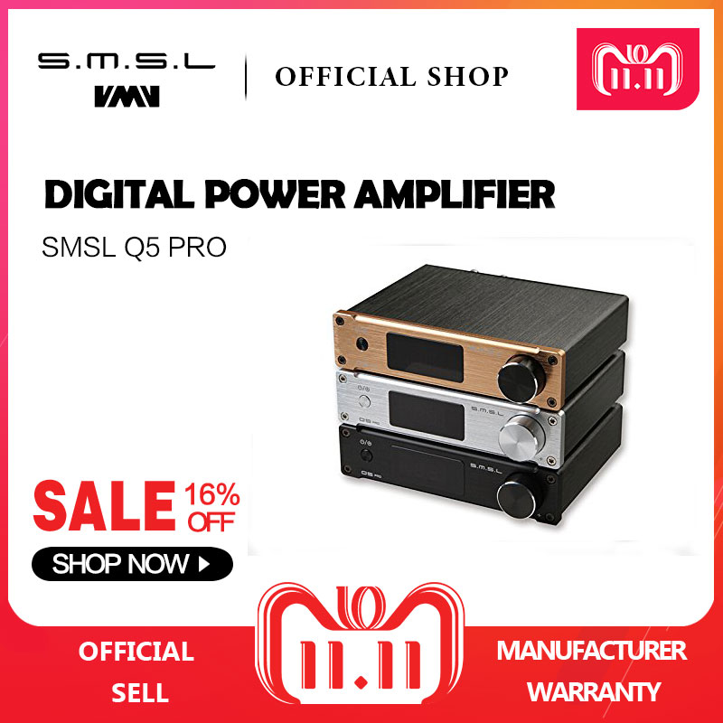 SMSL Q5 Pro Hi-Fi Audio Digital Power Amplifier 2x45W Control USB COAXIAL OPTICAL Input 192KHZ 44Bit Color Black Silver Gold стоимость
