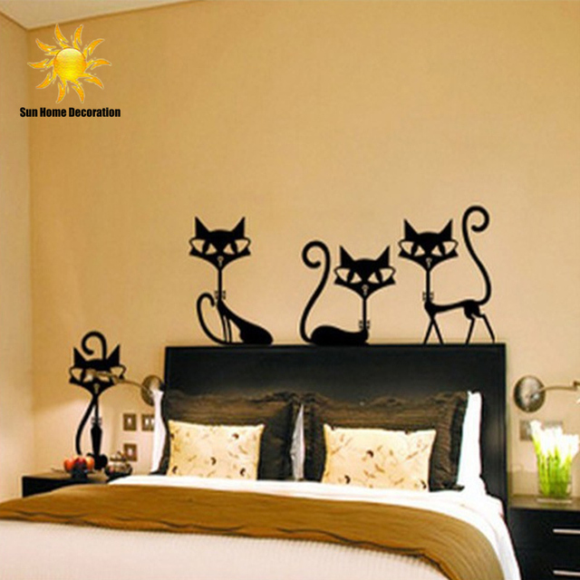 4 Black Fashion Wall Stickers Cat Stickers Living Room Decor Tv Wall ...
