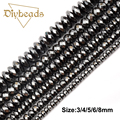 Top quality Prismatic Black Hematite beads Round Natural Stone Flat Loose bead Stone ball 3/4/5/6/8 For Jewelry bracelet Making