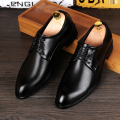 shoes men Fashion Business Dress shoes Male Genuine leather Black Pointed toe All match Wedding shoes Flats sapato masculino 022