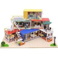 DIY кукольная Миниатюра дом модель игрушки подарок с светодиодный Музыка крышка Модель Строительство Наборы для детей Детские игрушки