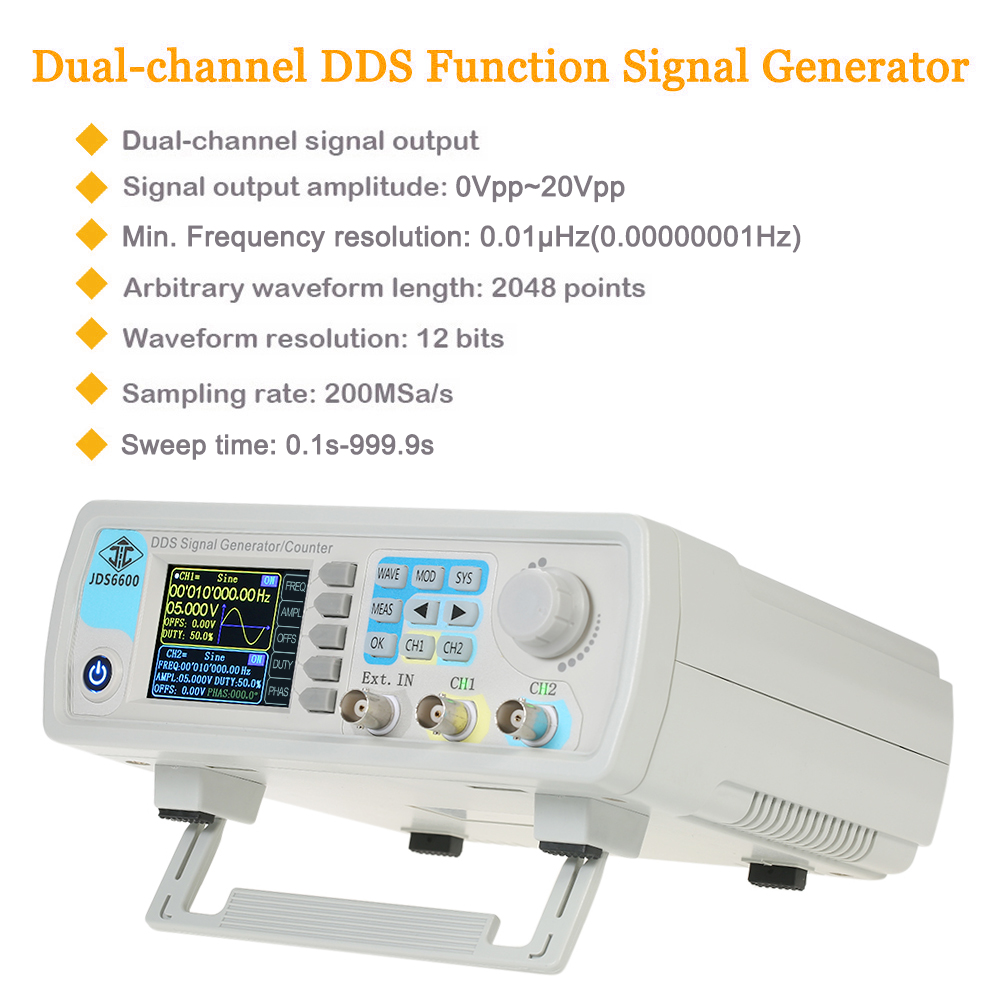 digital signal generator Dual-channel DDS Function Generator Arbitrary Waveform Pulse Frequency Meter 1Hz-100MHz 200MSa/s 30MHz