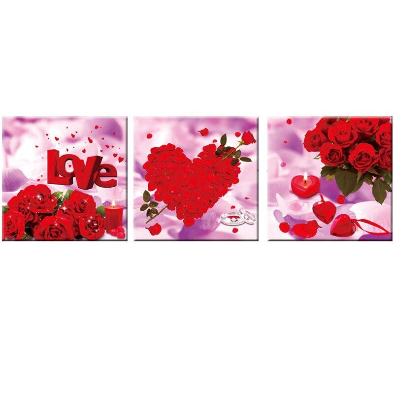 150x50 5D Diament Malarstwo Cross Stitch Czerwona Róża Kwiaty Język Miłość Wzór Duża Malarstwo Diy Rzemiosło Częściowo Haft