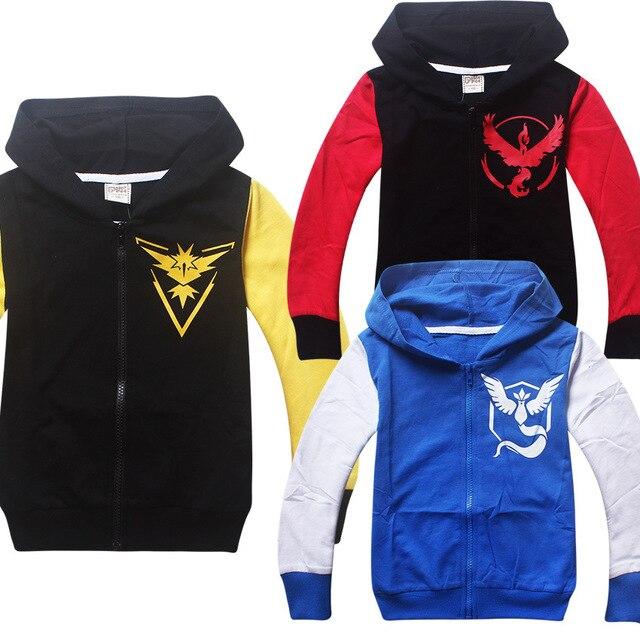 2016 new POKEMON GO Sweatshirts Hoodies Boys Clothing Kids Clothes Cartoon Tops Casual Hoodies Sweatshirts Jacket for 3-10 Bays