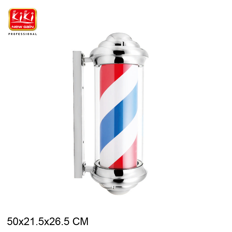 New Model 346E Pattern Roating Stainless Steel Barber Pole With Lamp Beauty Salon Equipment Barber Shop