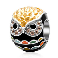 Fits Pandora Bracelets Gold black owl charm Original 925 sterling silver jewelry charms beads DIY making wholesale