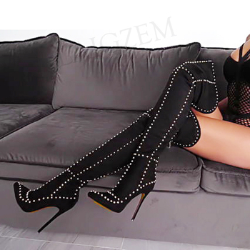 LAIGZEM SUPER Women High Heel Thigh High Boots Studded Stiletto Long Tall Boots Shoes Woman Botines Mujer Larger Big Size 34-47 laigzem women over the knee boots faux leather waterproof back long zipper sexy ladies shoes womam botines mujer big size 4 19