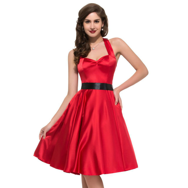Women Spring Halter Style Satin Formal Dress Casual Gown Knee Length Vintage  Dresses Vestido De Festa 6XL/7XL Plus Size