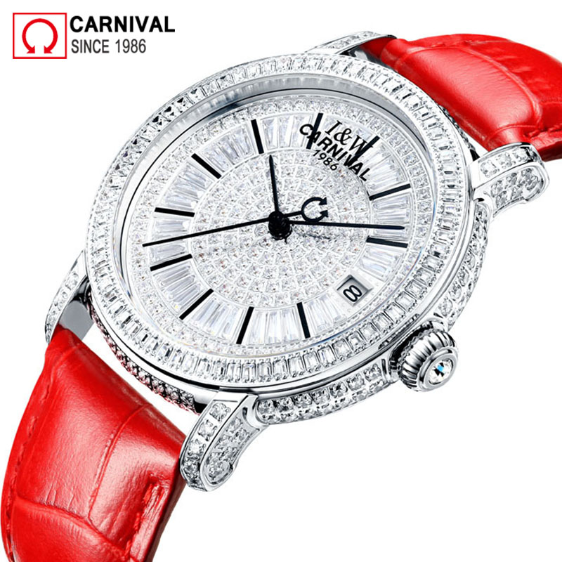 Carnival New Luxury Automatic Watch Women Genuine Leather Strap Mechanical Watches Ladies 100M Waterproof Wristwatch reloj mujerCarnival New Luxury Automatic Watch Women Genuine Leather Strap Mechanical Watches Ladies 100M Waterproof Wristwatch reloj mujer
