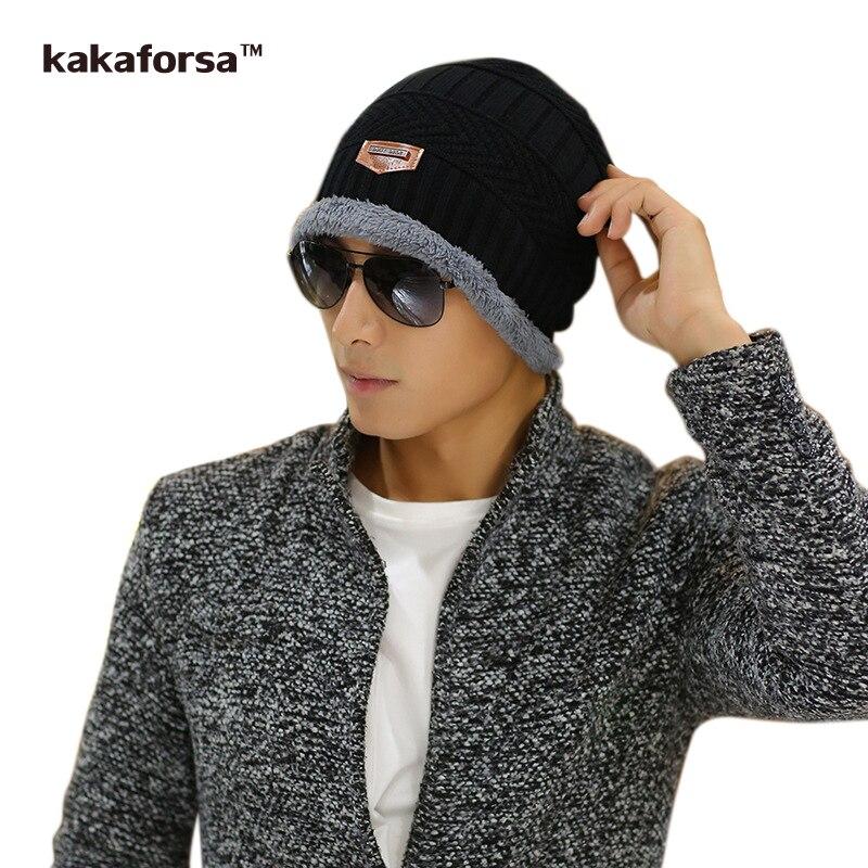 Kakaforsa Men Winter Acrylic Skullies Beanies Casual Warm Thickened Knitted Hats for Women Bonnet Fashion Solid Cap Free Size skullies
