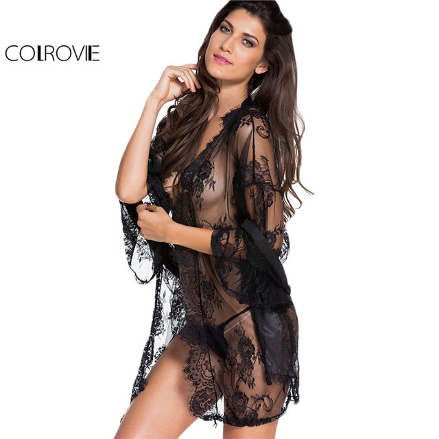 9985ae135cf COLROVIE Black Lace Robes Women Sexy Semi Sheer Casual Vintage Night Gown  With Self Tie New