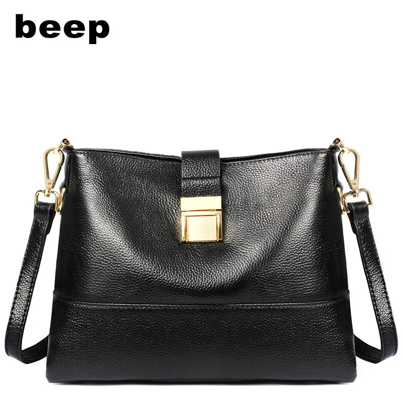 Beep Brand 2017 New Superior cowhide fashio Leisure Genuine Leather bag women leather shoulder messenger bag women's bag beep beep go to sleep
