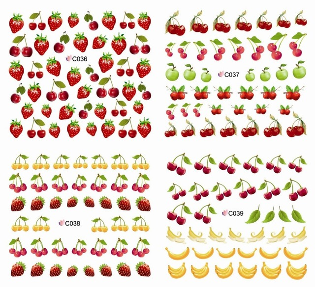 20Sheets Fruit nail watermark sticker phototherapy nail decals Banana apple strawberry cherry lemon (Individuality packaging)