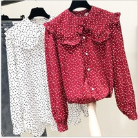 Ladies Teenagers Autumn Sweet Girls Shirt Thin Long Sleeve Chiffon Button Blouse Ladies Shirts and Blouses Red Womens Tops Cute