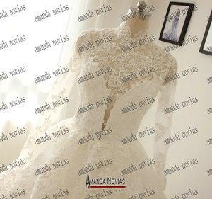 Image 3 - Collo alto In Pizzo Giacca Maniche Lunghe In Pizzo Abiti Da Sposa