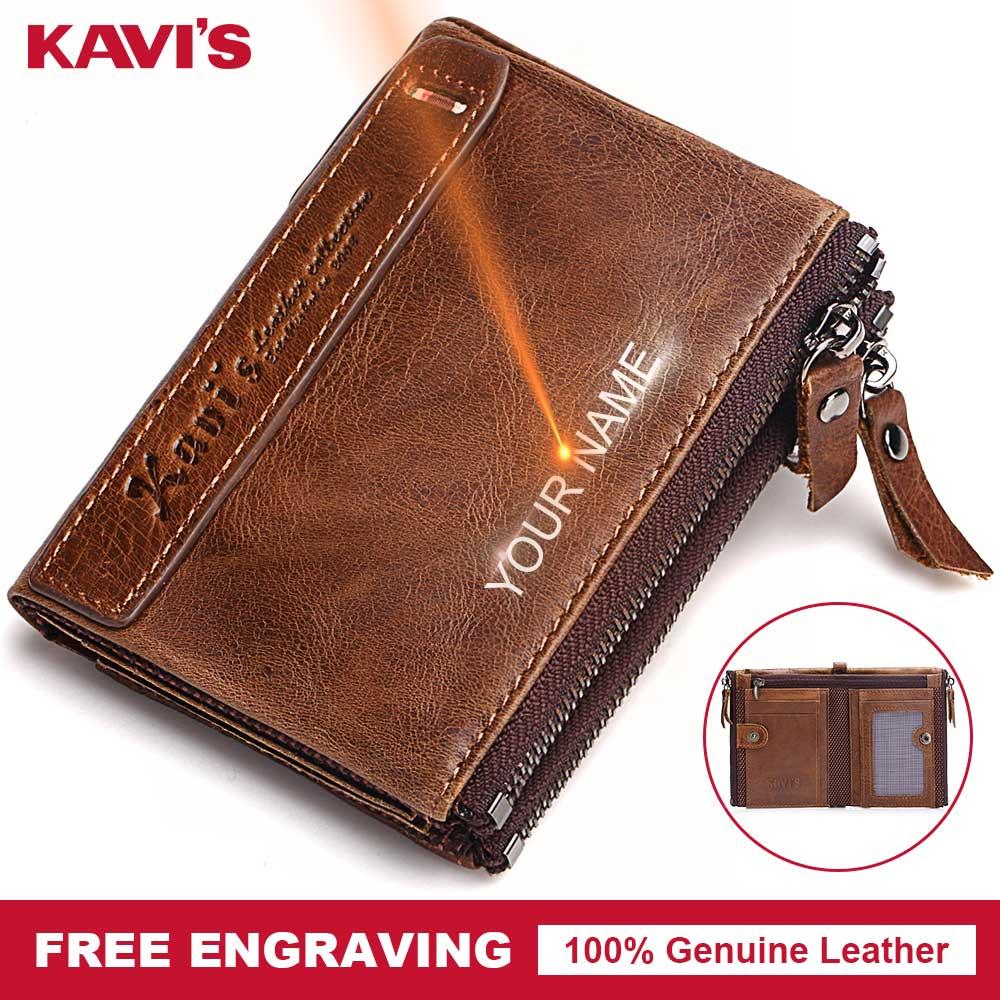 KAVIS Free Engraving Men Wallets Zipper Male Cuzdan Coin Purse Fashion  Vallet Portomonee PORTFOLIO Perse Card Holder Diy Gift