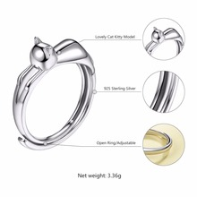 Sterling Silver Cat Cute Rings for Women