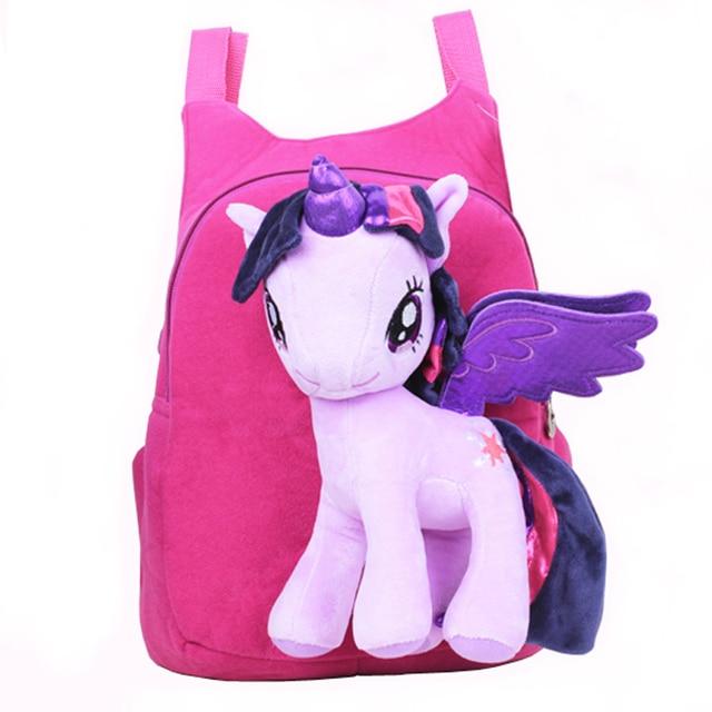 924e563946 New Brand High Quality Cute 3D My Little Pony Minion Plush Backpack  Children s Shoulder Bag Cartoon School Bag for Kids Satchel