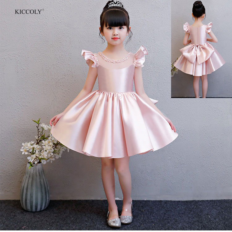 KICCOLY 2018 Elegant Baby Girl Dress Tulle Beaded Round Neck Sumdress For Girls Pink Sleeveless Dress Big Bow Princess Clothing