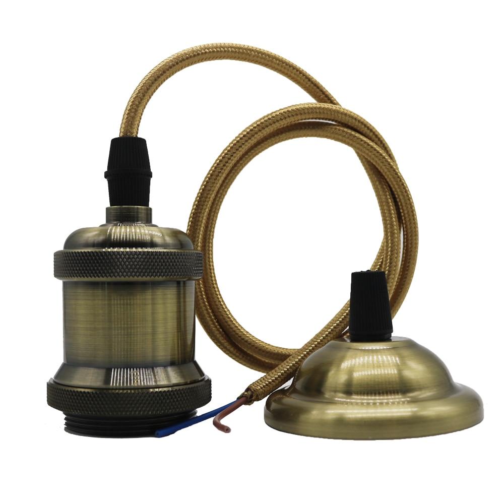110V 220V Retro Edison Bulb Holder E27 Socket Antique Brass Lamp Base Cord Grip Threaded Lampholder For Pendant Light