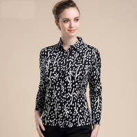 New Arrival 100 Silk Female Long Sleeve Thickening Double Faced Knitted Silk Blouses