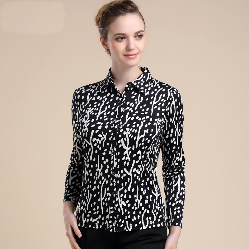 New arrival 100% silk female long-sleeve blouses thickening double faced knitted shirt classy fashion shirt free shipping-b33