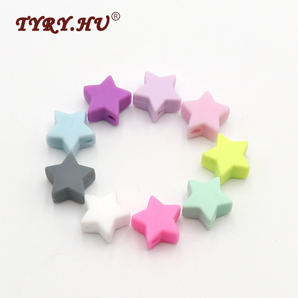 TYRY.HU 50Pcs MultiColor Star Shape Food Grade Silicone Beads Baby Silicone Teether Infant Teething Toy Baby Dental Care Product